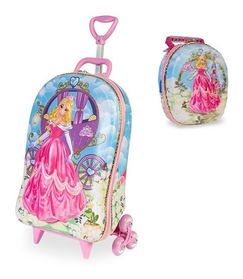 Mochila Escolar 3d + Lancheira Maxtoy Princesa Meg Barbie
