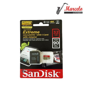 Cartão Micro Sd Sdhc Sandisk Extreme 32gb C10 90mbs Uhs-3 4k