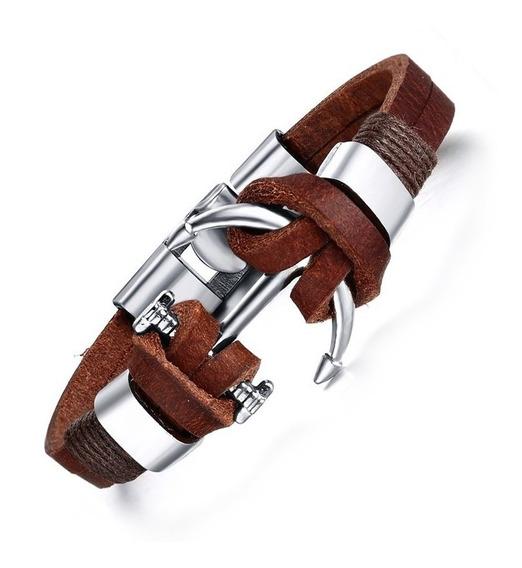 Bracelete Pulseira Masculina Couro Legitimo Ancora Bronze
