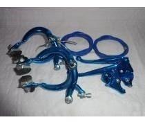Juego De Frenos Bicicleta De Aluminio Azul / Rojo