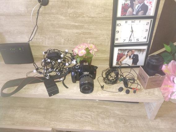 Câmera Canon T3 Eos Rebel + Mc Fone+bateria+carregador+lente