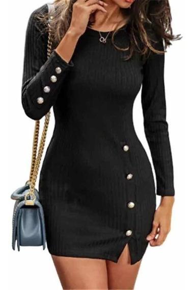 Vestido Tipo Suéter Delgado Negro Corto