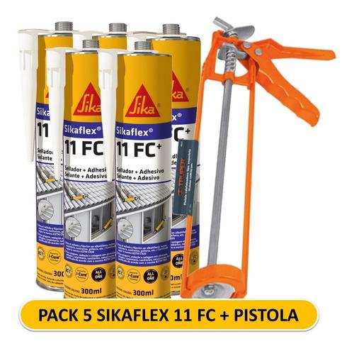 Imagen 1 de 7 de Pack 5 Sikaflex 11 Fc Blanco + Pistola Calafatera