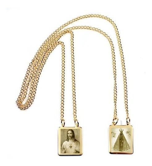 Escapulário Folheado Ouro Coração Jesus N Senhora Aparecida