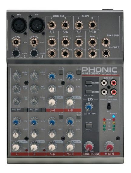 Mesa De Som 10 Canais C/ Efeito De Voz Phonic Am 105fx