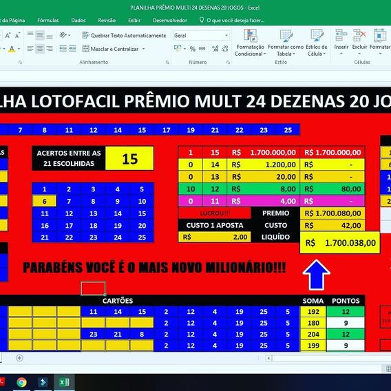 Planilha Lotofacil Prêmios Mult 24 Dezenas 20 Jogos+brindes