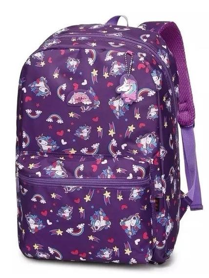 Mochila Unicórnio Escolar Juvenil Lançamento Violeta M3469