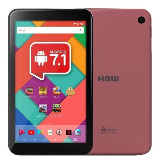 "Tablet How HT-705 7"" 8GB rosa com memória RAM 1GB"