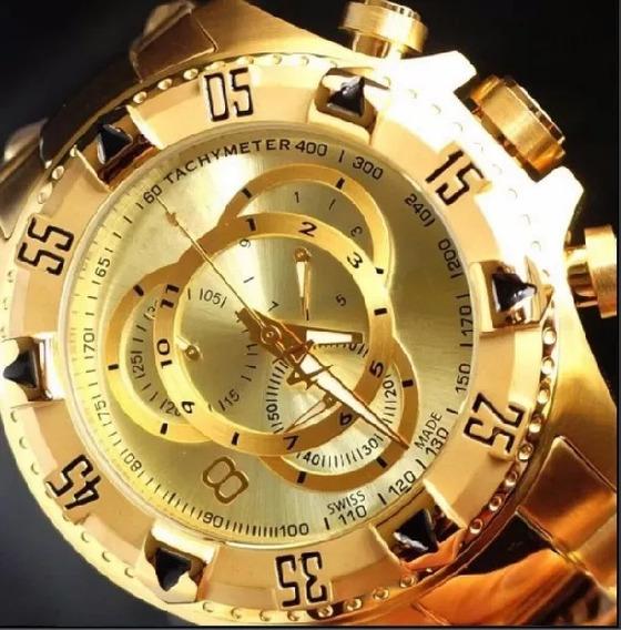 Relógio Masculino Dourado Aço Prata Barato Pesado Promoção