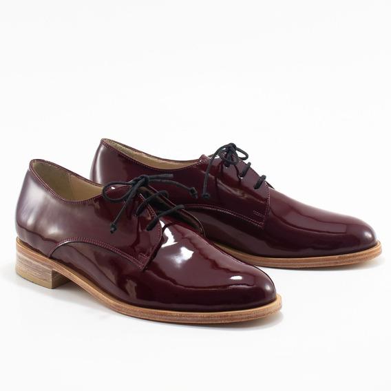 Zapato Abotinado De Charol Genuino - Bygint: Vernice Bordó