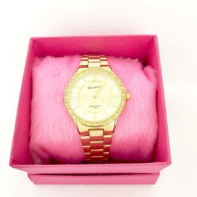 Relogio Redondo Feminino Atrantis Dourado Com Diamante G3452