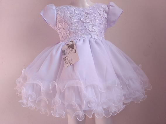 Vestido Bebê Branco Batizado Pérolas Menina Bonita