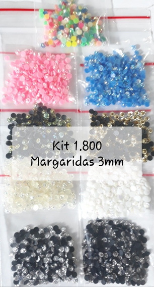 Kit 1.800 Margaridas 3mm Kit Para Jóias Pedrarias Para Unhas