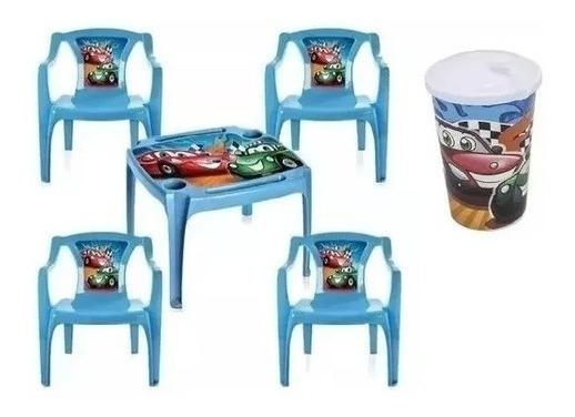 Mesa +brinde Copos Mesinha Infantil 4 Cadeiras Azul Meninos