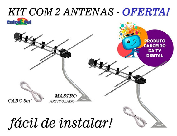 Kit 2 Antenas Externa Tv Digital Suporte Cabo