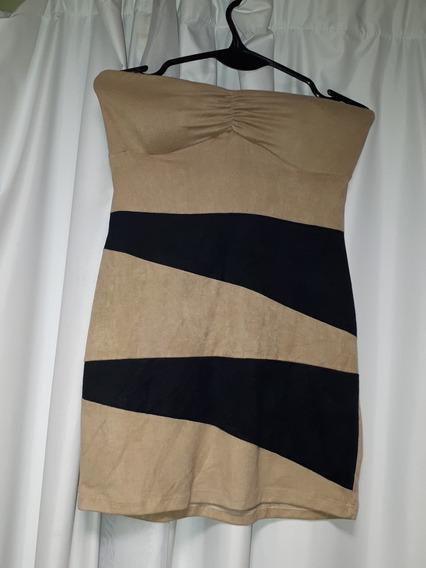Vestido Corto Gamuzado Combinado Talle S M