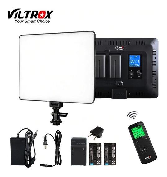 Kit Iluminador Led Viltrox Vl-200/t C/ Controle+2 Bat.f750