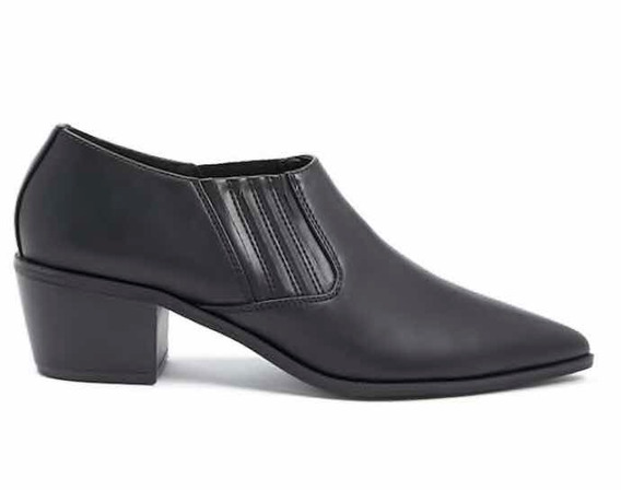 Forever 21 Botas Botinetas Ankle Boots Cuero Negro 36