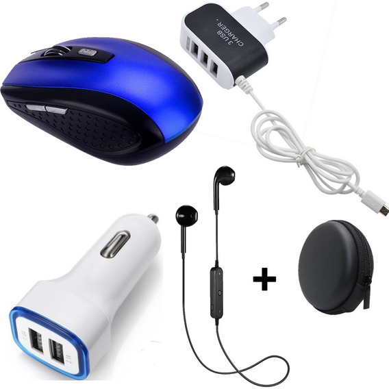 Kit Acessórios Para Pc Notebook Informática Mouse + Fones