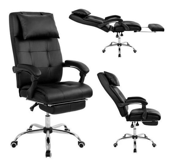 Cadeira Presidente Reclinável Pel-3022 Couro Preta Pelegrin