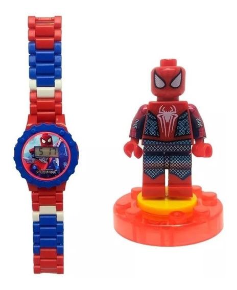 Relógio Digital Infantil Homem Aranha + Mini Boneco Lego