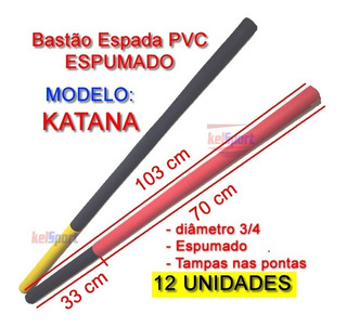 Bastão Espada Katana Treino - Polietileno Kit 12 Pçs