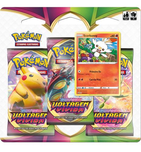 Triplo Pack Cartas Pokemon Scorbunny Voltagem Vivida Jogo