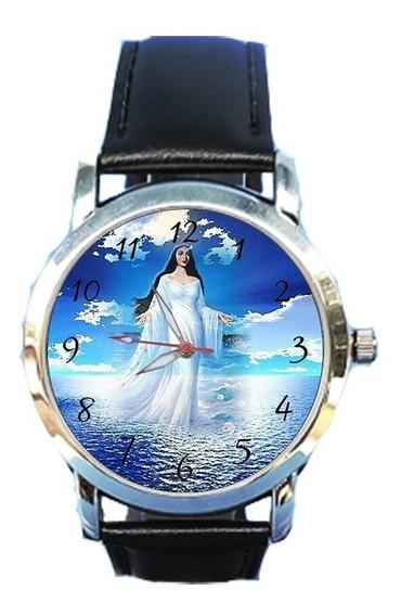 Relógio Iemanjá Rainha Do Mar Orixá Espírita Religião Couro