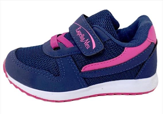 Tênis Infantil Feminino Velcro Calce Fácil Leve Confortável