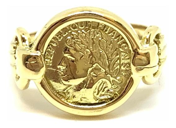 Anillo Oro 18k Moneda República Francesa (a523)