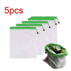 5pcs Green - Producto Reutilizable Malla Bolsas Lavable-0839