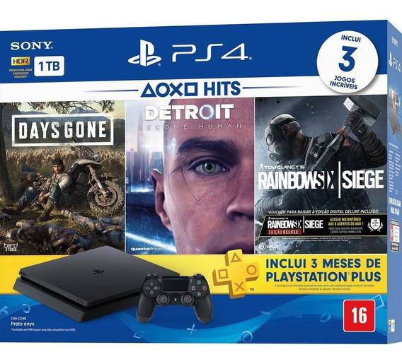 Video Game Ps4 Slim 1tb 1controle 3 Jogos 3 Meses D Voucher