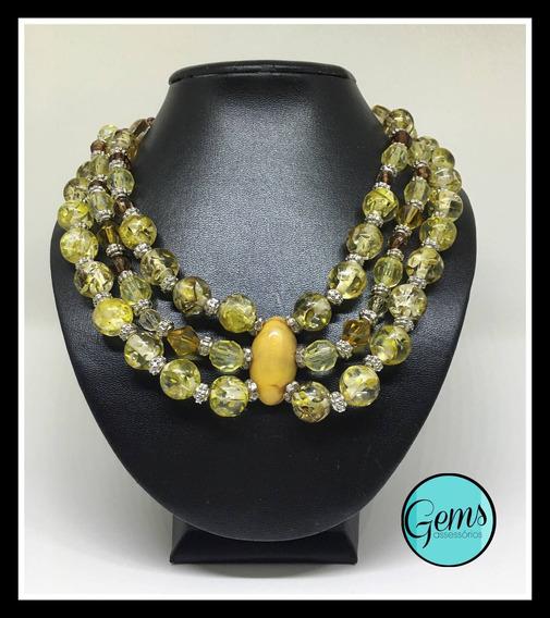 Colar Lady (com Pedras Amarelas E Strass)