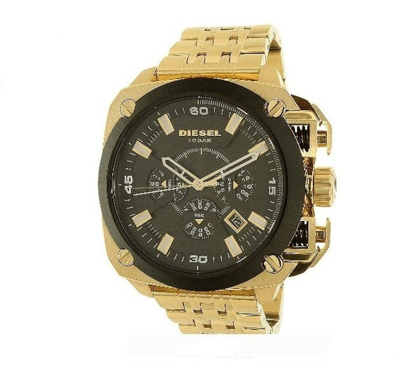 Relógio Diesel Masculino Dz7378 Caixa Black Pulseira Dourada