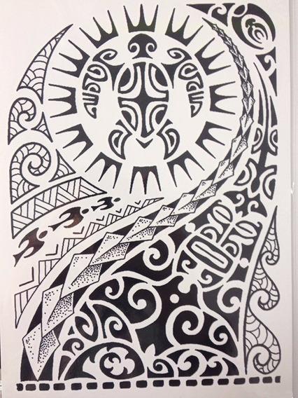 1 Tatuagem Temporária Grande 20x15cm Tartaruga Maori Nº 5