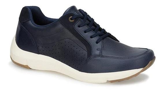 Zapato Tipo Tenis Casual Piel Azul Hombre Ferrato Original