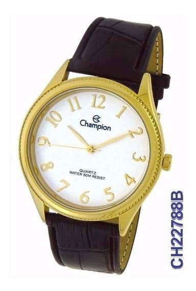 Relógio Social Masculino Champion Ch22788b Pulseira De Couro