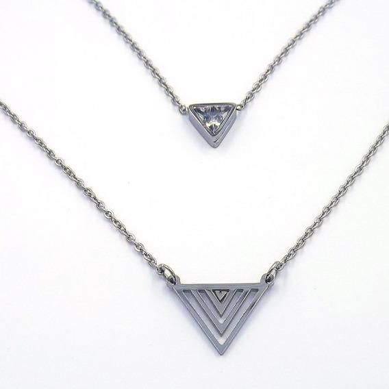 Collar Doble Acero Inoxidable Multi Triángulos Eg