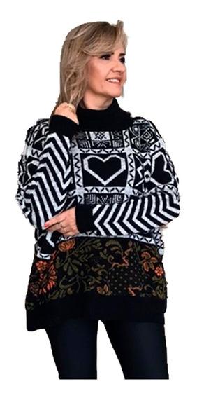 Blusa Feminina De Frio Manga Comprida Tricot Inverno Ski
