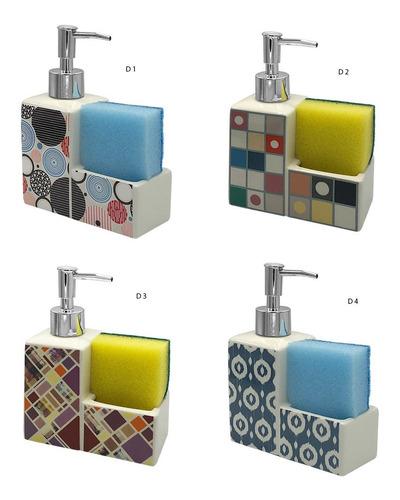 Dispensador Jabon Para Esponja Baño Deco Ceramica 82073