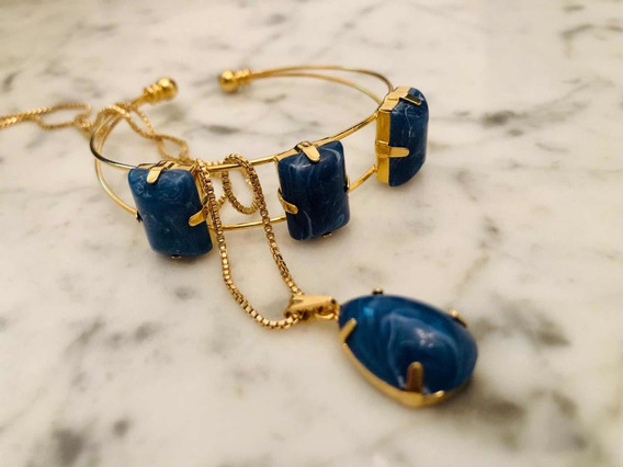 Conjunto Bracelete, Colar, Pingente Semi Jóia Banhado Ouro