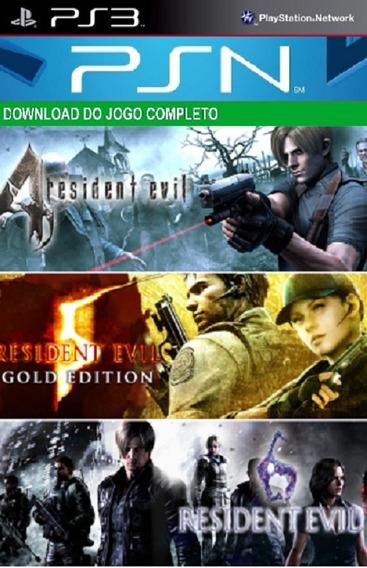 Resident Evil Trilogy 4,5 E 6 Ps3 Midia Digital Psn Original