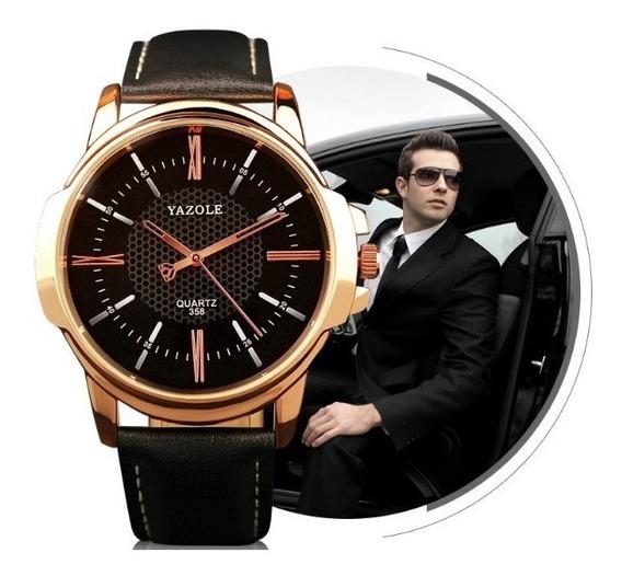 Relógio Yazole Original Masculino Quartz Pulseira Em Couro