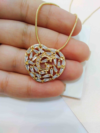 Colar Mandala Letra Inicial Nome Banhado A Ouro 18k