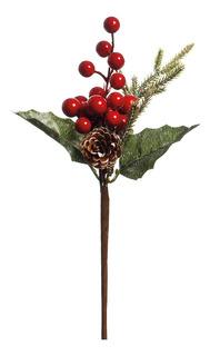 Pick Enfeite Natal Galho Folhas Cerejas E Pinha 20cm 1 Peça