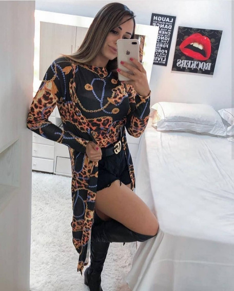 Conjunto Regata + Cardigã Feminino Casaco Blogueira