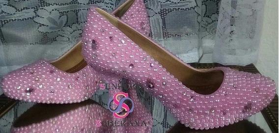 Sapato Meia Pata Rosa Com Pérolas Cinderela Luxo (noivas)