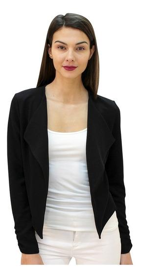Saco Dama Mujer Blazer Formal Con Solapa En Crepe Negro