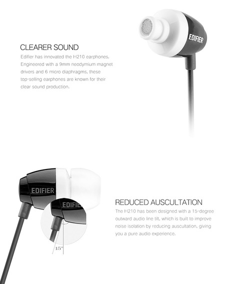 Fone De Ouvido H210 Earbud Edifier Som E Fidelidade Branco