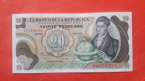 Imagen 1 de 2 de Billete De Veinte Pesos 1966 Colombia.